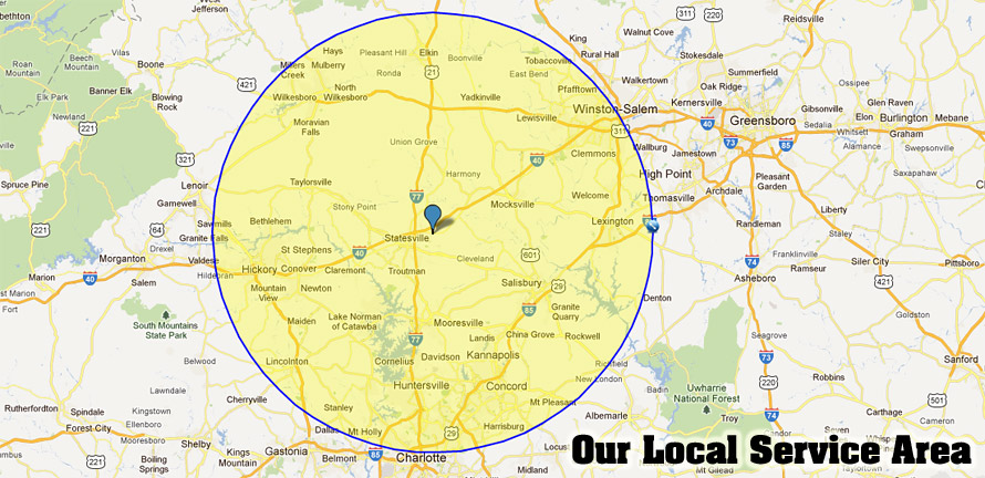 our service area for lawn mower repair sales in nc