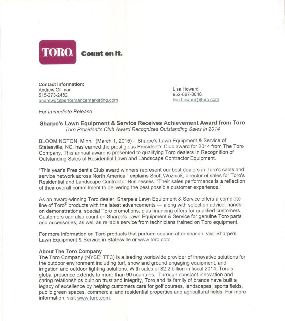 Toro Outstanding Sales